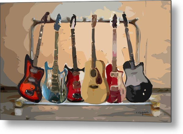 Guitars On A Rack Metal Print