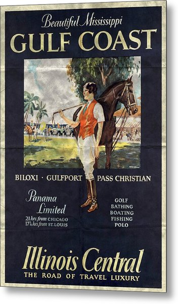 Gulf Coast - Illinois Central - Vintage Poster Folded Metal Print