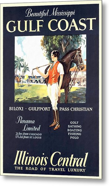 Gulf Coast - Illinois Central - Vintage Poster Restored Metal Print