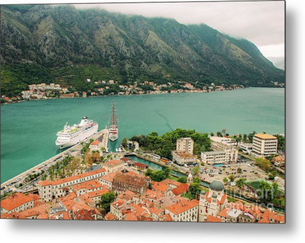 Gulf Of Kotor With Cruise Liner Metal Print