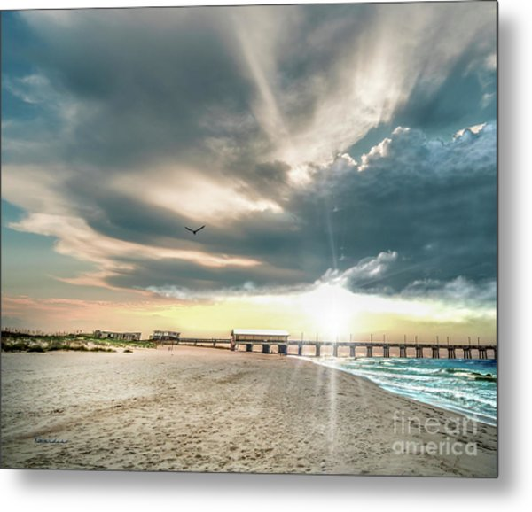 Gulf Shores Al Pier Seascape Sunrise 152c Metal Print