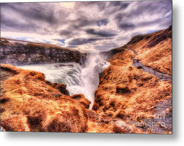 Gulfoss Waterfall Iceland 2nd Tier Metal Print