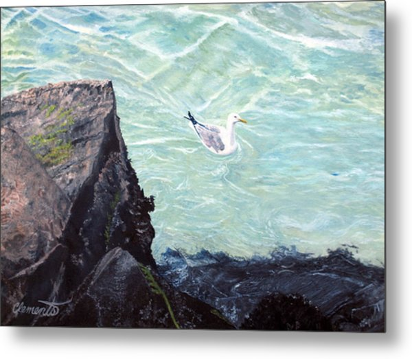 Gull In Shallows Of Barnegat Inlet Metal Print