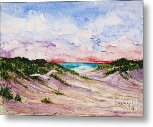 Gulls And Dunes Metal Print by Suzanne Krueger