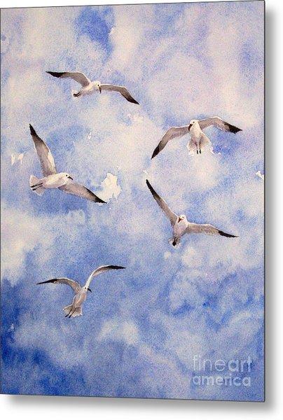 Gulls Is Flight Metal Print