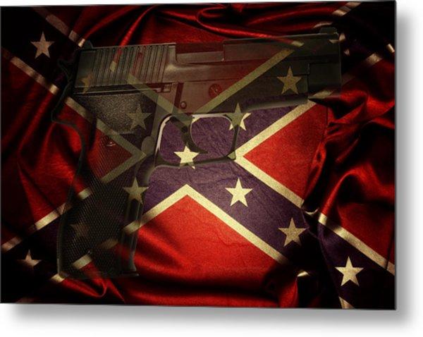 Gun And Confederate Flag Metal Print