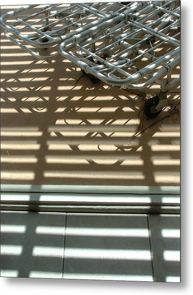 Gurneys Under A Pergola Through A Picture Window Metal Print