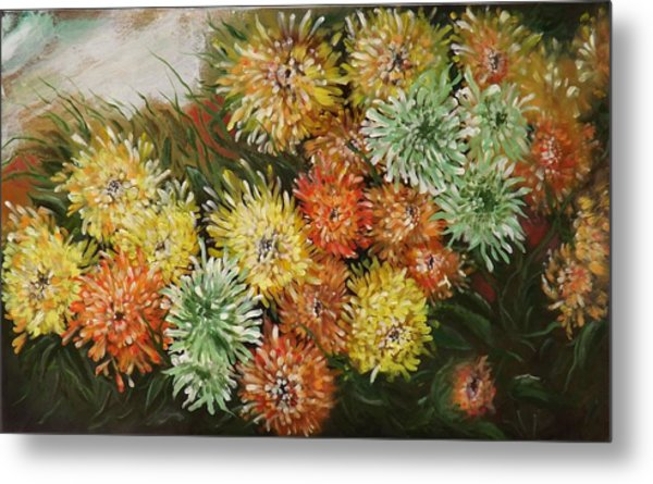 Gusty Chrysanthemums Metal Print