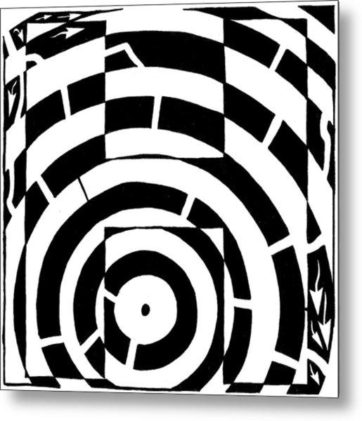 H Maze Metal Print by Yonatan Frimer Maze Artist