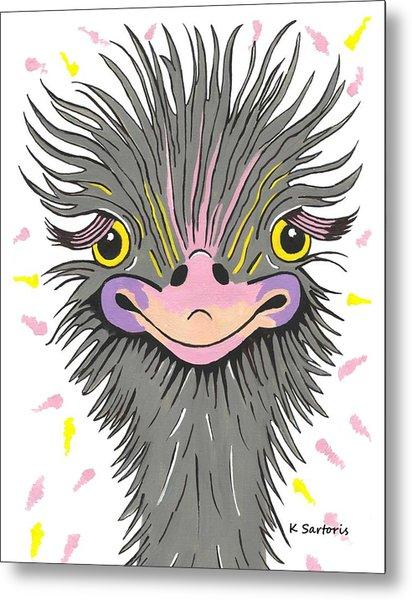 Hair Raising Day - Contemporary Ostrich Art Metal Print