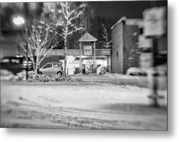 Hale Barns Square In The Snow Metal Print