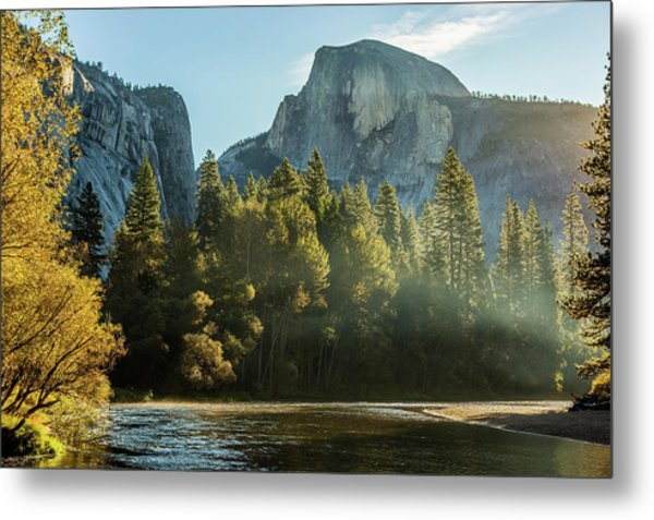 Half Dome And Merced River Autumn Sunrise Metal Print