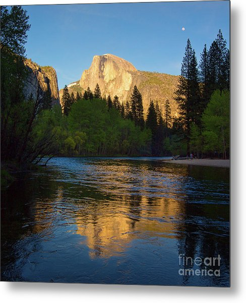 Half Dome And The Merced River With The Moon Metal Print
