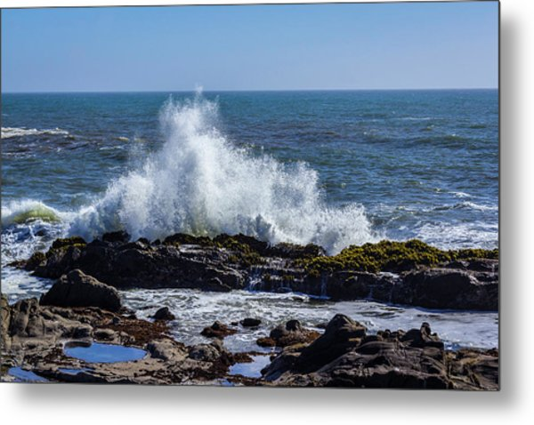 Wave Crashing On California Coast 1 Metal Print