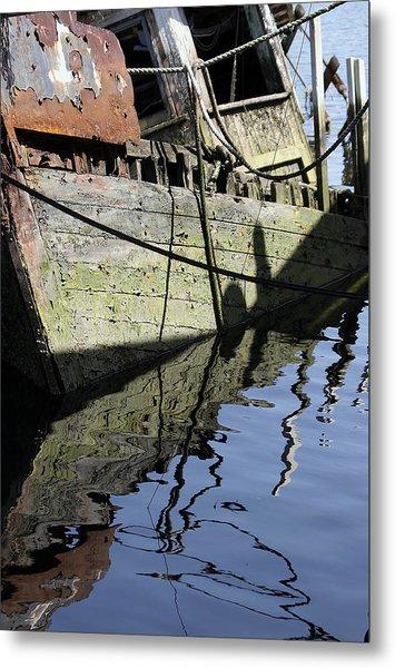 Half Sunk Boat Metal Print