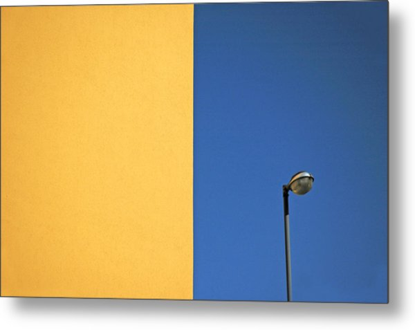 Half Yellow Half Blue Metal Print