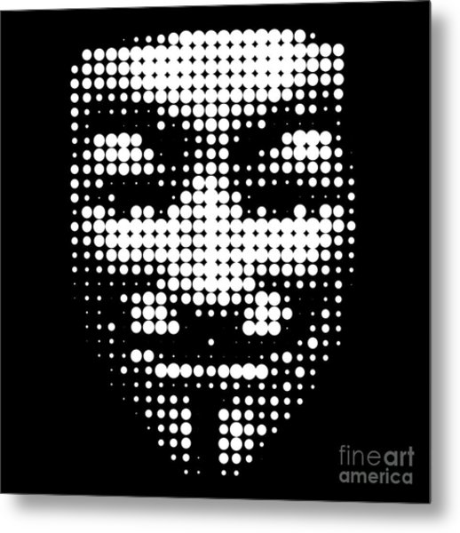 Halftone Anonymous Face  Metal Print