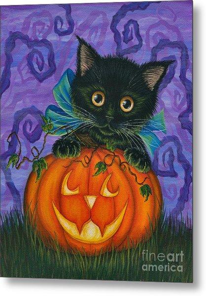 Halloween Black Kitty - Cat And Jackolantern Metal Print
