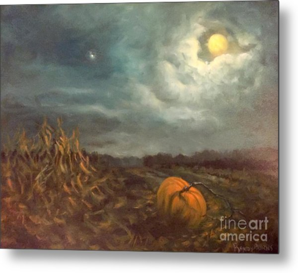 Halloween Mystery Under A Star And The Moon Metal Print