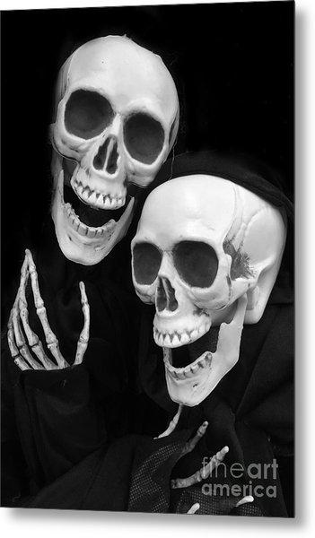 Halloween Skeletons - Black And White Halloween Skulls Skeleton Art Metal Print