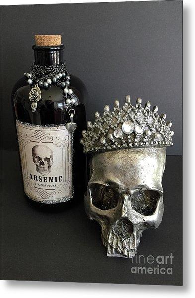Halloween Skull Crowned Jewels With Vintage Arsenic Bottle - Gothic Fantasy Skull Arsenic Poison  Metal Print
