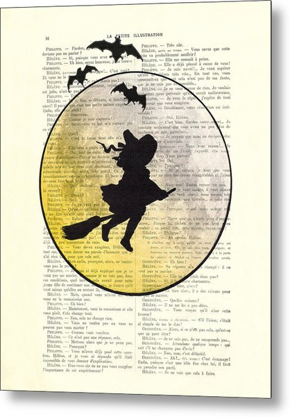Witch Flying With Full Moon Metal Print