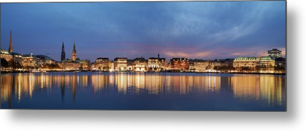 Metal Print featuring the photograph Hamburg Alster Panorama by Marc Huebner