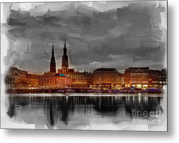 Hamburg Germany Skyline 01 Metal Print