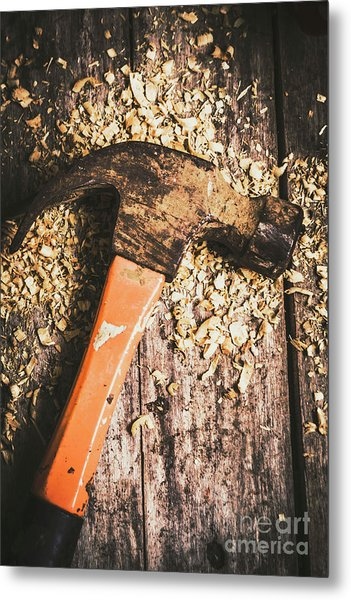 Hammer Details In Carpentry Metal Print