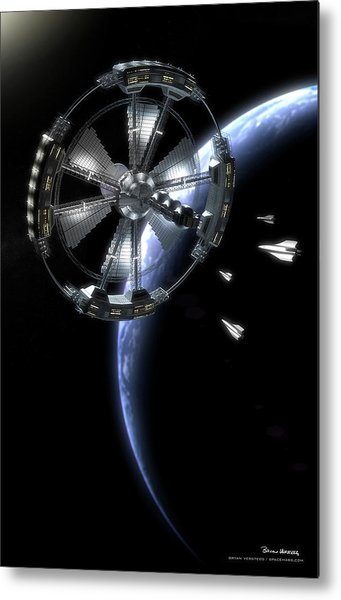 Metal Print featuring the digital art Hammer Station In Earth Orbit by Bryan Versteeg
