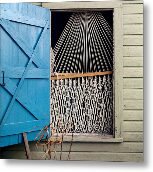 Hammock In Key West Window Metal Print