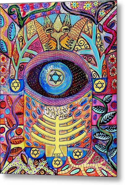 -hamsa Menorah Tree Of Life - Bright Lights  Metal Print