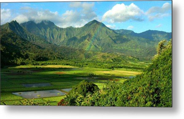Hanalei Valley Rainbow Metal Print by Stephen Vecchiotti