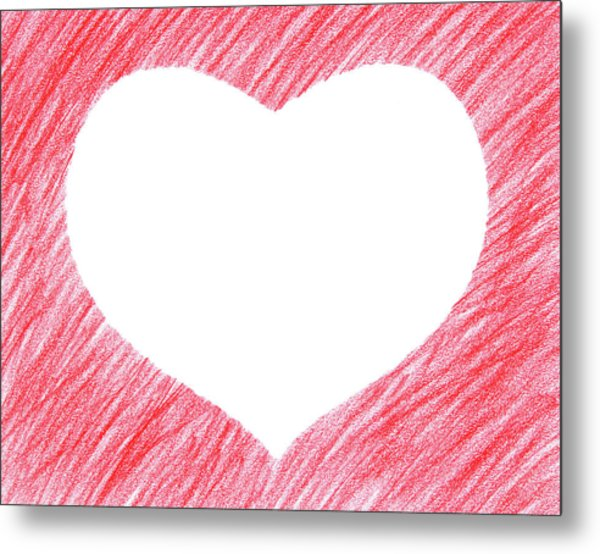 Hand-drawn Red Heart Shape Metal Print