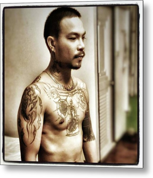 Metal Print featuring the photograph Handsome Man With Tattoos. #thailife by Mr Photojimsf