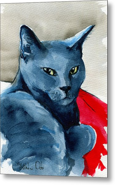 Handsome Russian Blue Cat Metal Print
