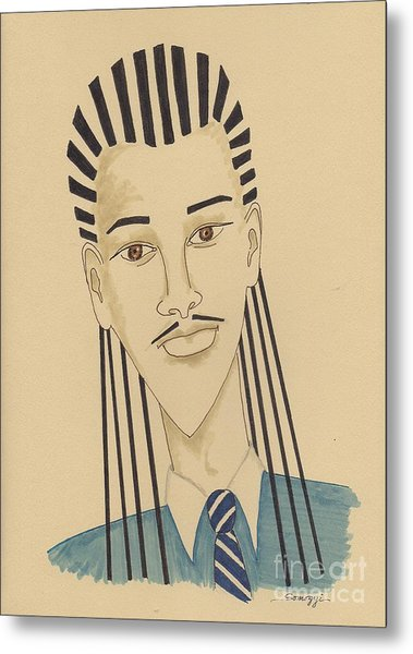 Handsome Young Man -- Stylized Portrait Of African-american Man Metal Print