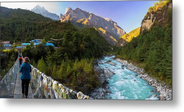 Metal Print featuring the photograph Hanging Bridge Over The Dudh Kosi by Owen Weber