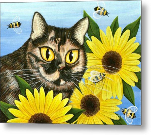 Hannah Tortoiseshell Cat Sunflowers Metal Print