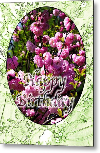 Happy Birthday - Greeting Card - Almond Blossoms No. 1 Metal Print by Sascha Meyer