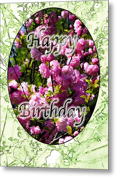 Happy Birthday - Greeting Card - Almond Blossoms No. 2 Metal Print by Sascha Meyer