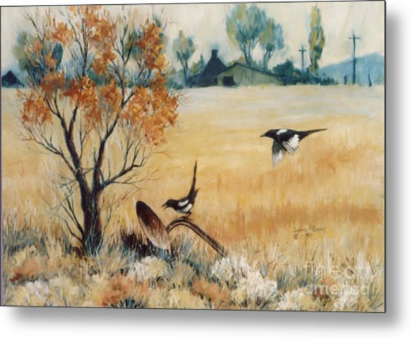 Happy Cry Of The Wild Magpie Metal Print