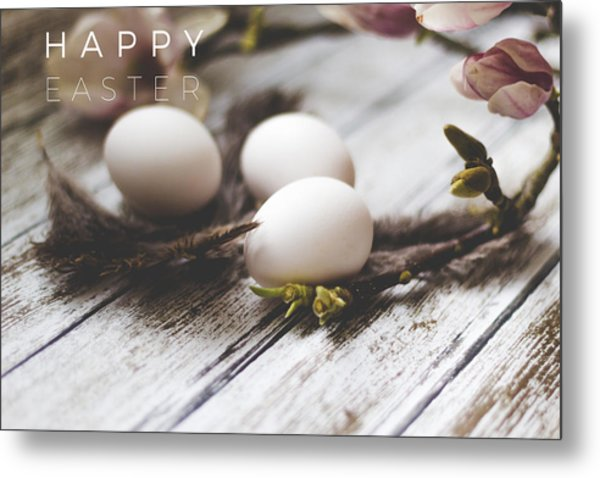 Happy Easter Card With Eggs And Magnolia On The Wooden Background Metal Print