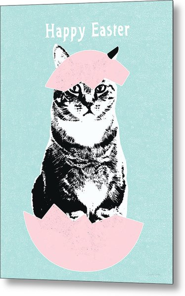 Happy Easter Cat- Art By Linda Woods Metal Print