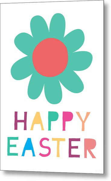 Happy Easter Flower - Art By Linda Woods Metal Print