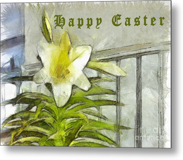 Metal Print featuring the photograph Happy Easter Lily by Claire Bull