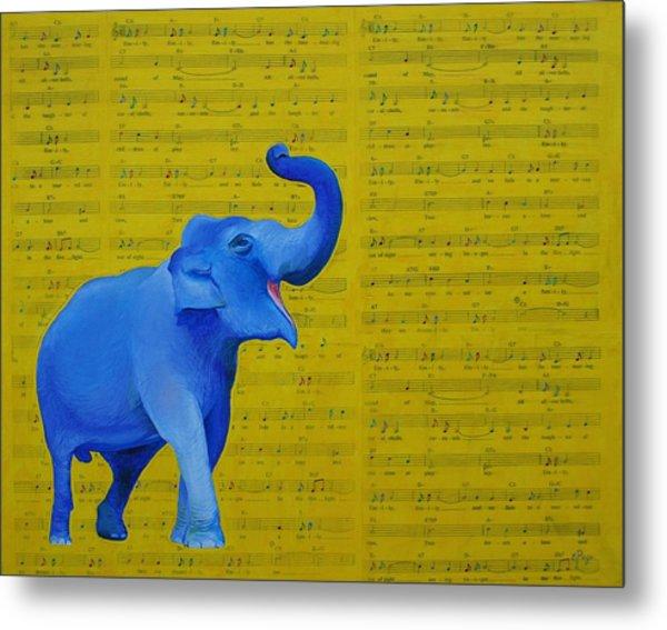 Happy Elephant Singing Emily Metal Print