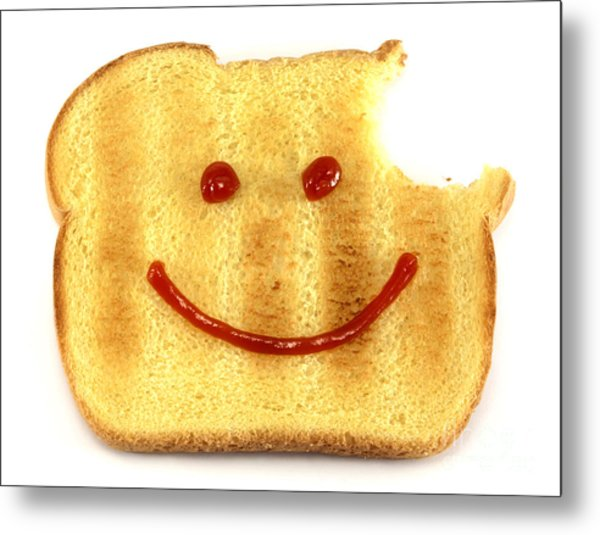 Happy Face And Bread Metal Print