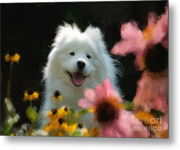 Happy Gal In The Garden Metal Print