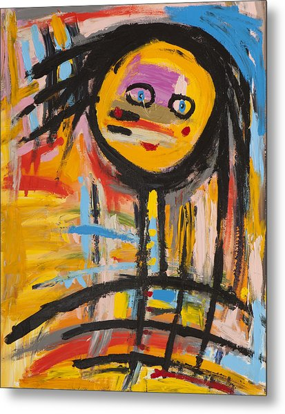 Happy Girl Abstract  Metal Print by Maggis Art